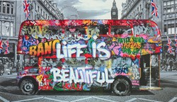 Double Decker by Mr. Brainwash - Limited Edition on Paper sized 33x19 inches. Available from Whitewall Galleries